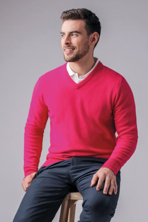 Mens V Neck Lambswool Golf Sweater