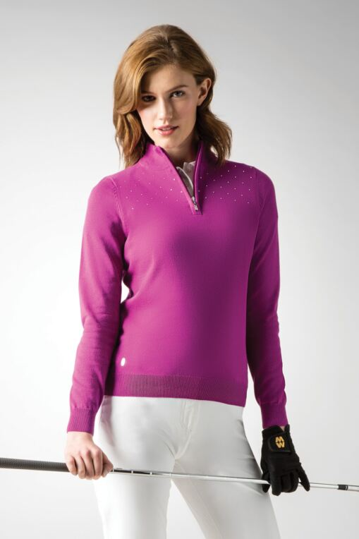 Ladies Zip Neck Diamante Front Cotton Golf Sweater