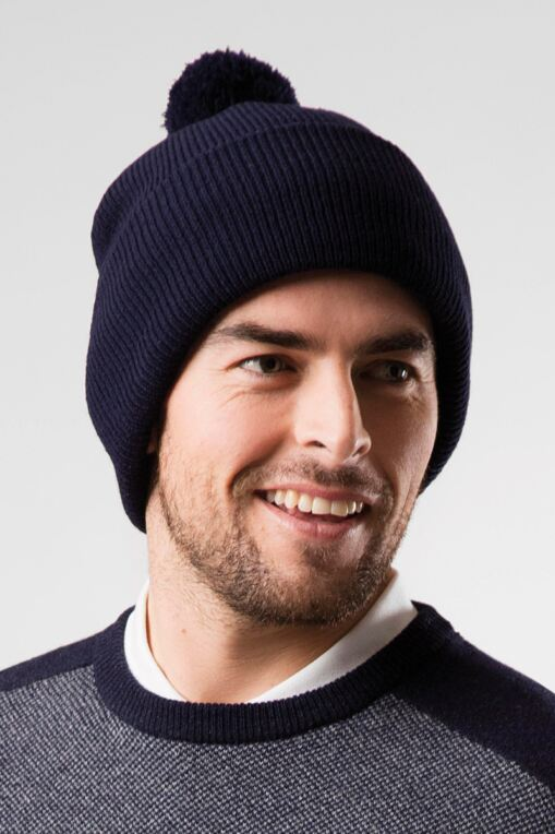 07f5c914f89 Mens And Ladies Thermal Lined Turn Up Rib Merino Golf Beanie Bobble Hat