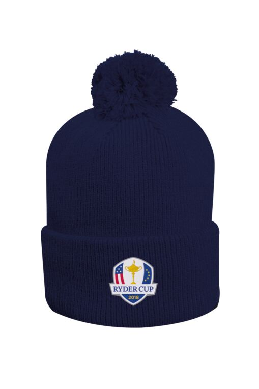 Official Ryder Cup 2018 Unisex Thermal Lined Turn Up Rib Merino Golf Bobble Hat