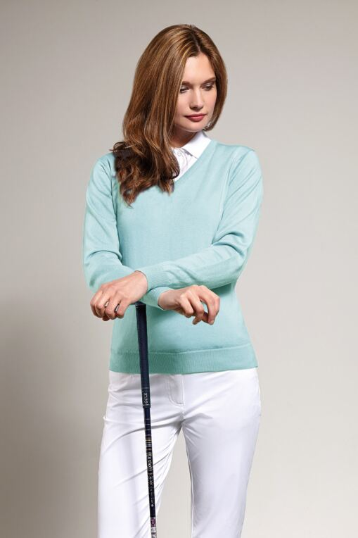 Ladies V Neck Merino Wool Golf Sweater - Sale