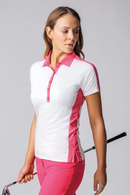 3b3e1d647 Ladies Melange Panel Performance Golf Polo Shirt - Sale