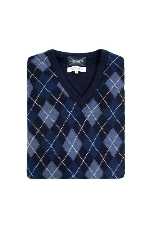 Heritage V Neck Argyle Touch of Cashmere Sweater