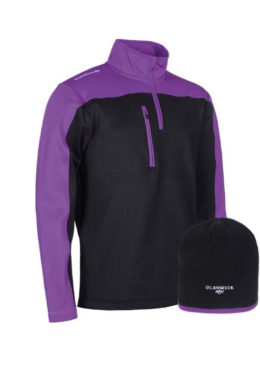 Mens Zip Neck Performance Golf Midlayer & Hat Gift Box