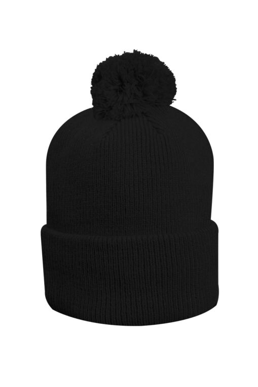 Mens And Ladies Thermal Lined Turn Up Rib Merino Golf Beanie Bobble Hat