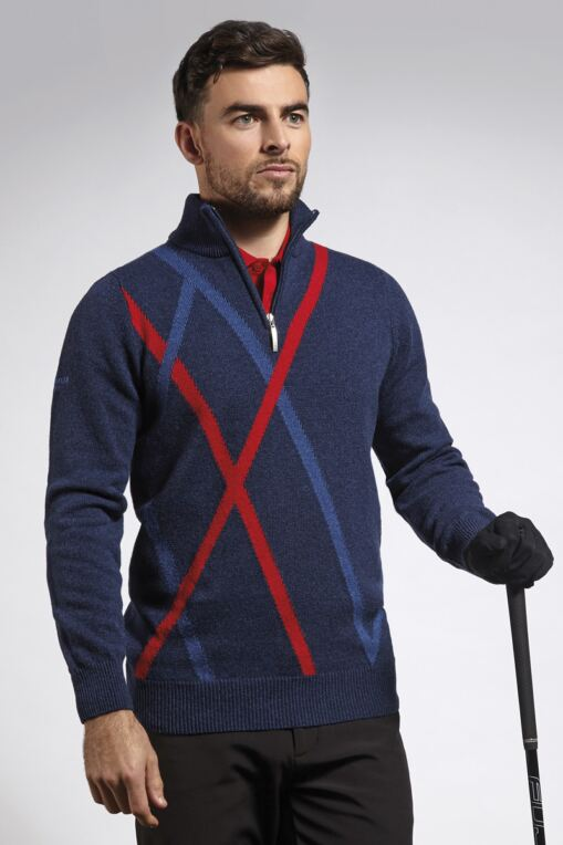 Mens Zip Neck Diamond Intarsia Lambswool Blend Golf Sweater - Sale