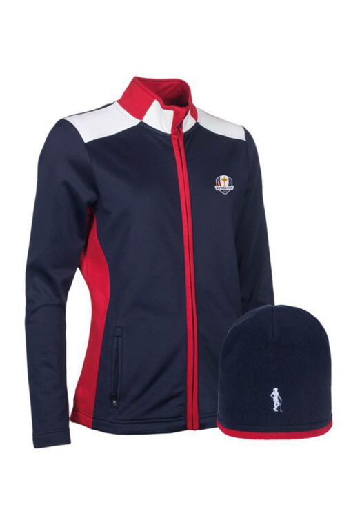 Official Ryder Cup 2018 Ladies Zip Front Performance Golf Midlayer & Hat Gift Box