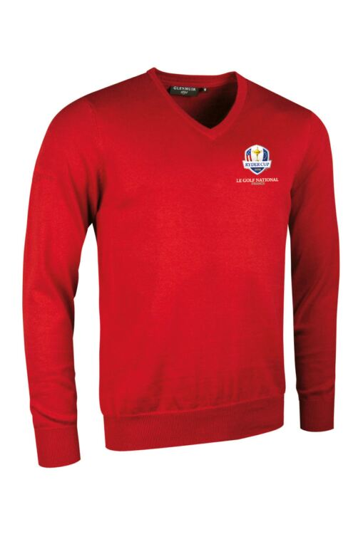 Official Ryder Cup 2018 Mens V Neck Cotton Golf Sweater