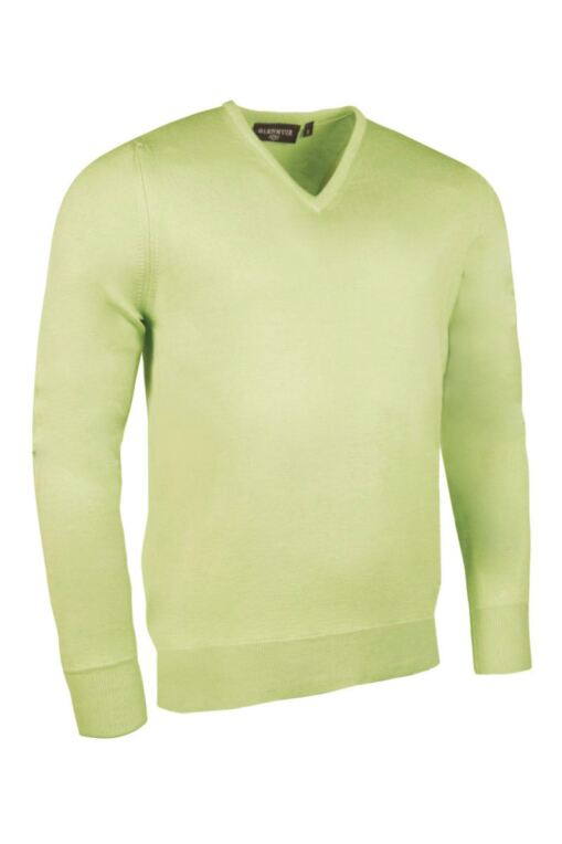 Mens V Neck Single Rib Neck Touch of Cashmere Golf Sweater