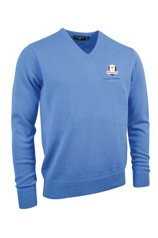 Official Ryder Cup 2018 Mens V Neck Lambswool Golf Sweater