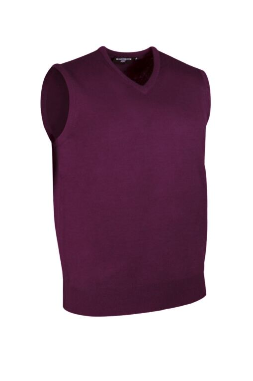Mens V Neck Merino Wool Golf Slipover