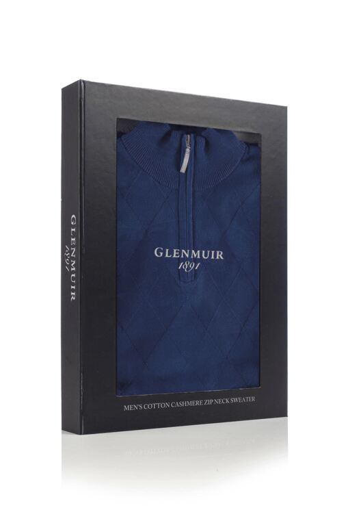 Mens Zip Neck Argyle Pattern Touch of Cashmere Sweater Gift Box