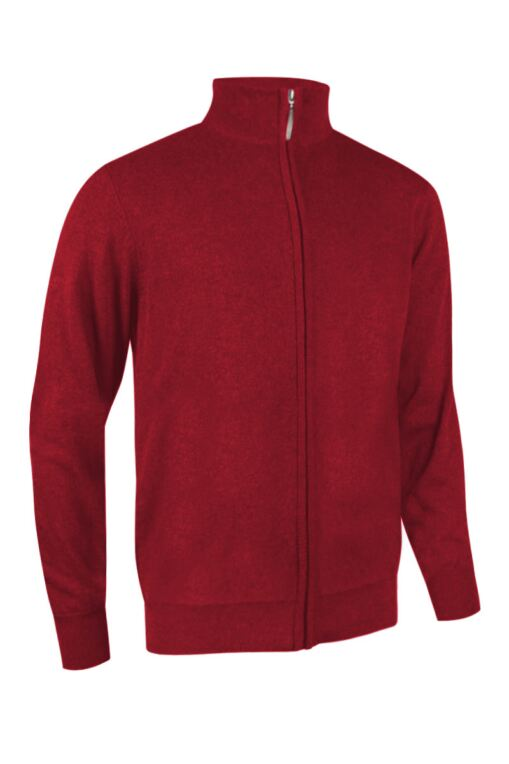 Mens Zip Front Lightweight Stretch Lined Cotton Golf Sweater