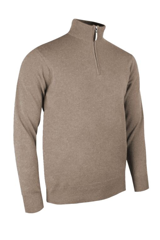 Mens Zip Neck Water Repellent Lined Extra Fine Merino Wool Golf Sweater