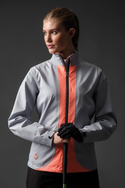 Ladies Zip Front Contrast Colour Lightweight Waterproof Golf Jacket