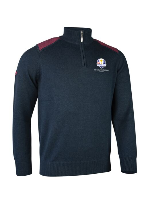 Official Ryder Cup 2018 Mens Zip Neck Birdseye Stripe Touch of Cashmere Golf Sweater