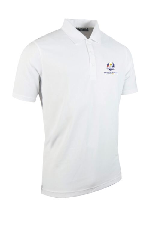 Official Ryder Cup 2018 Mens Performance Pique Moisture Wicking Golf Polo Shirt