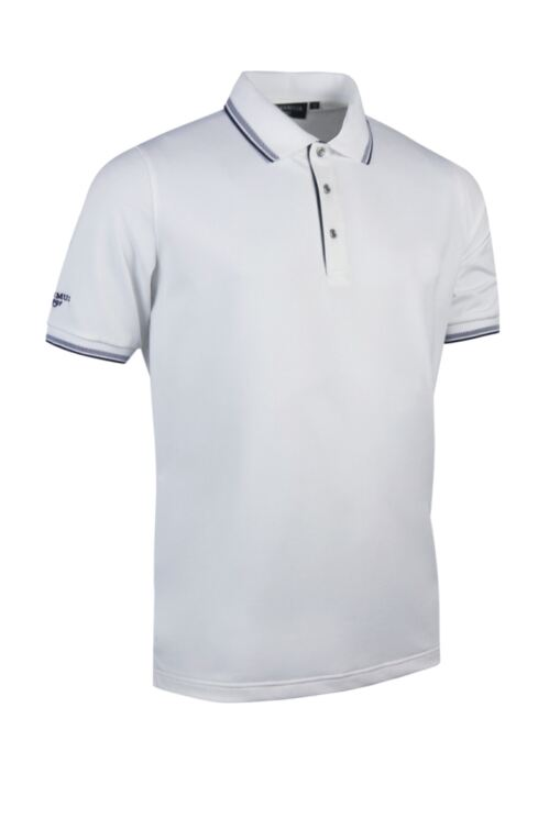 Mens Herringbone Tipped Performance Pique Golf Polo Shirt