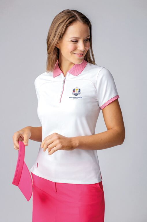 Official Ryder Cup 2018 Ladies Zip Neck Performance Pique Golf Polo Shirt