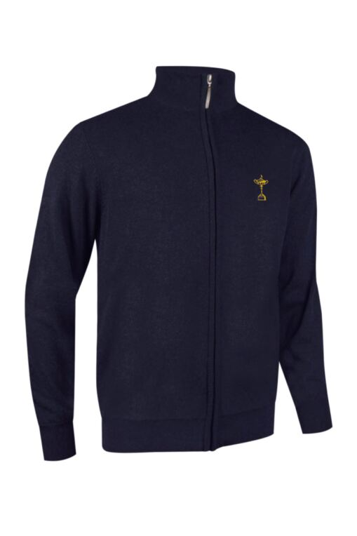 Official Ryder Cup 2018 Mens Zip Front Lightweight Stretch Lined Cotton Golf Sweater