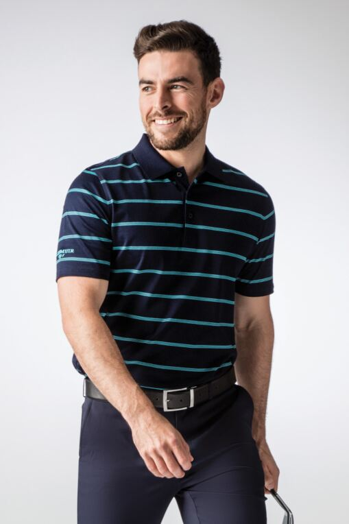 Mens Fine Triple Stripe Mercerised Cotton Golf Polo Shirt