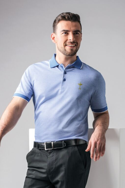 Official Ryder Cup 2018 Mens Oxford Tipped Mercerised Cotton Golf Polo Shirt