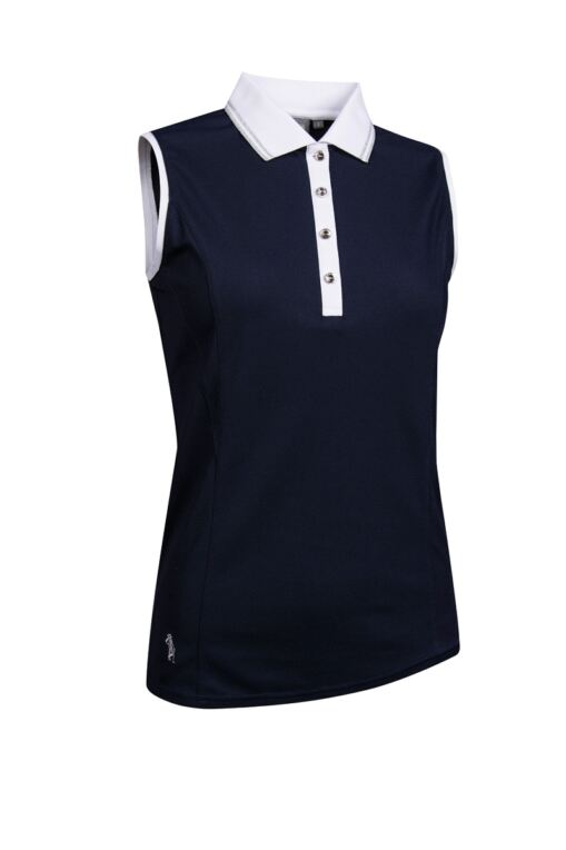 Ladies Sleeveless Lurex Tipped Collar Performance Golf Polo Shirt