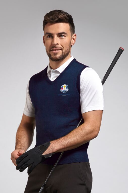 Official Ryder Cup 2018 Mens V Neck Merino Wool Golf Slipover