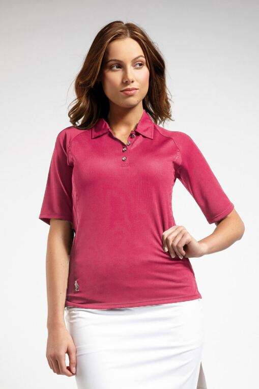 6c3310213 Ladies Performance Mid Length Sleeve Golf Polo Shirt with Grosgrain Ribbon  Piping - Sale