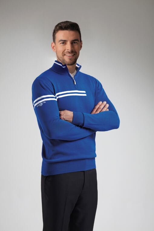 Mens Zip Neck Double Chest Stripe Cotton Golf Sweater - Sale