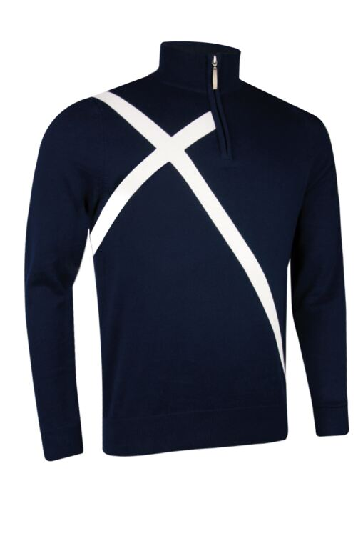 Mens Zip Neck Saltire Cross Cashmere Golf Sweater