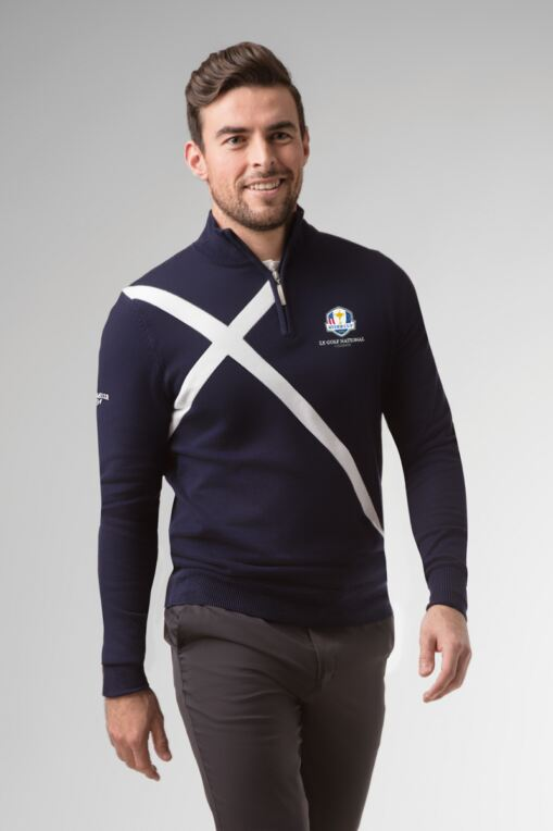 Official Ryder Cup 2018 Mens Zip Neck Saltire Cross Cotton Golf Sweater