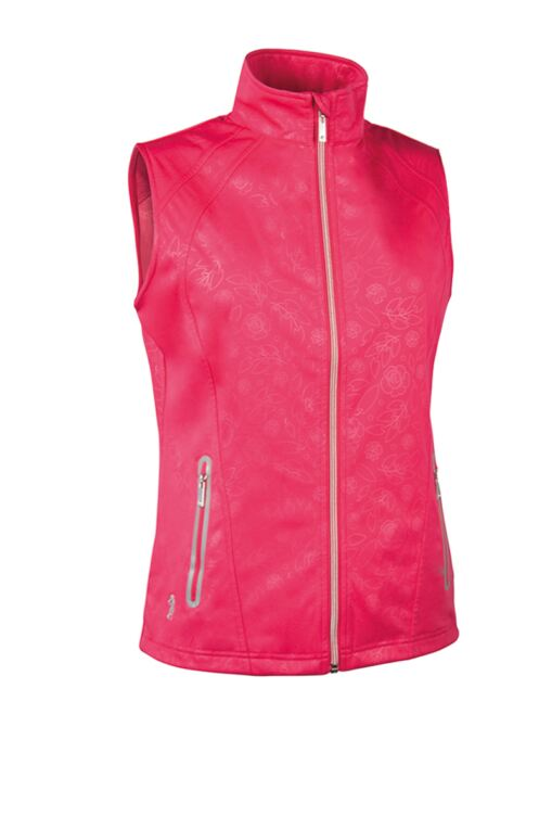 Ladies Zip Front Embossed Patterned Water Repellent Performance Golf Gilet