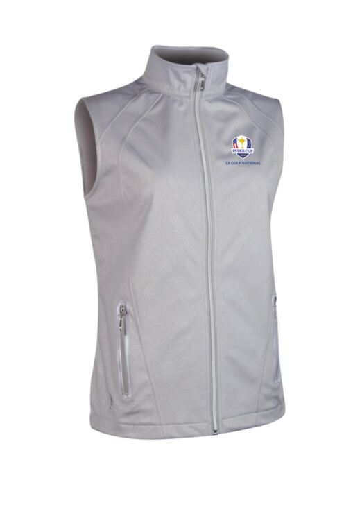 Official Ryder Cup 2018 Ladies Zip Front Embossed Patterned Water Repellent Performance Golf Gilet