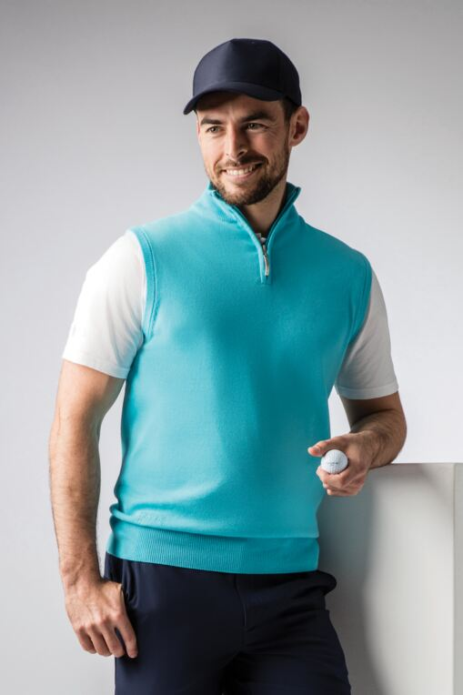 Mens Zip Neck Lightweight Cotton Golf Slipover