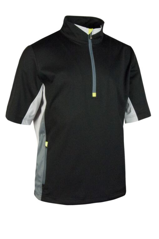 Mens Colour Block Half Sleeve Zip Neck Golf Windshirt - Sale