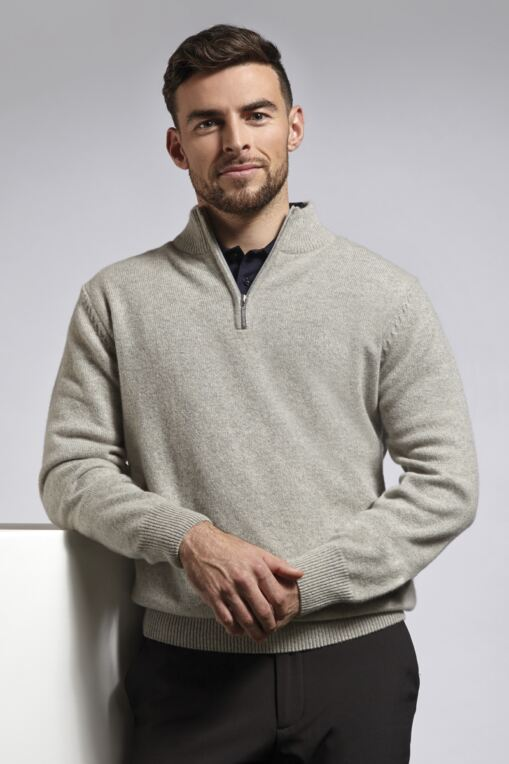 Mens Zip Neck Touch of Cashmere Golf Sweater