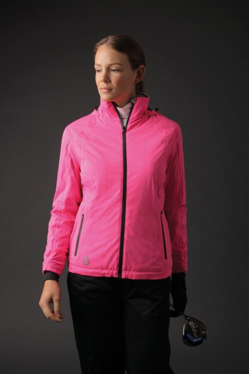 Ladies Zip Front Contrast Stitch Thermal Lined Waterproof Golf Jacket - Sale