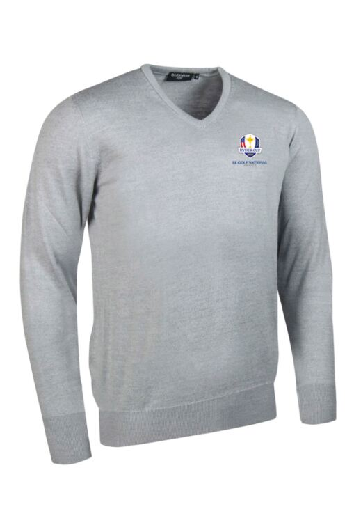 Official Ryder Cup 2018 Mens V Neck Merino Wool Golf Sweater