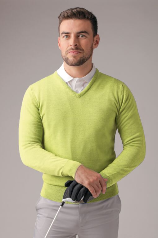 Mens V Neck Merino Wool Golf Sweater - Sale