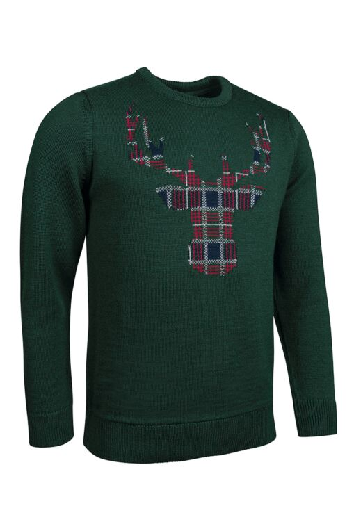 Mens Tartan Stag Christmas Sweater
