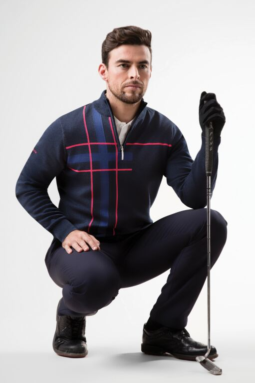 Mens Zip Neck Abstract Tartan Touch of Cashmere Golf Sweater Sale