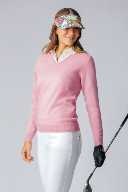 Ladies V Neck Lambswool Golf Sweater - Sale