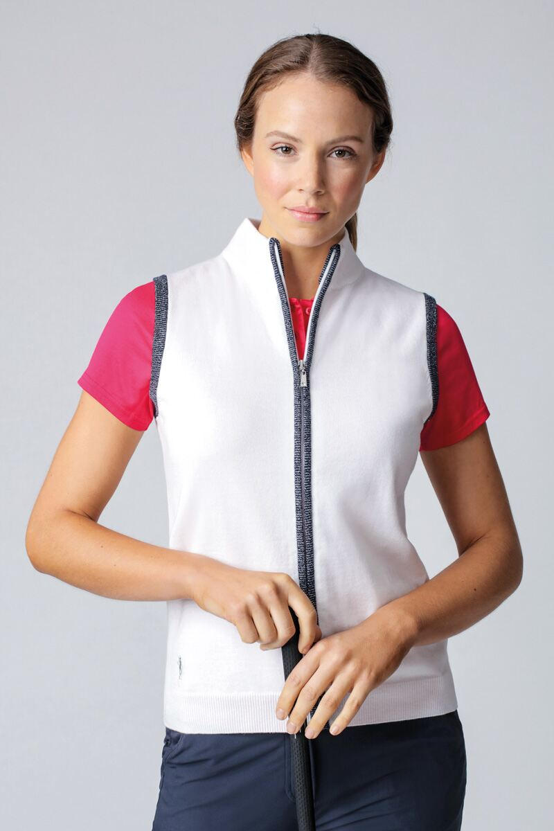 Ladies Zip Front Lurex Back Stripe Cotton Golf Gilet - Sale