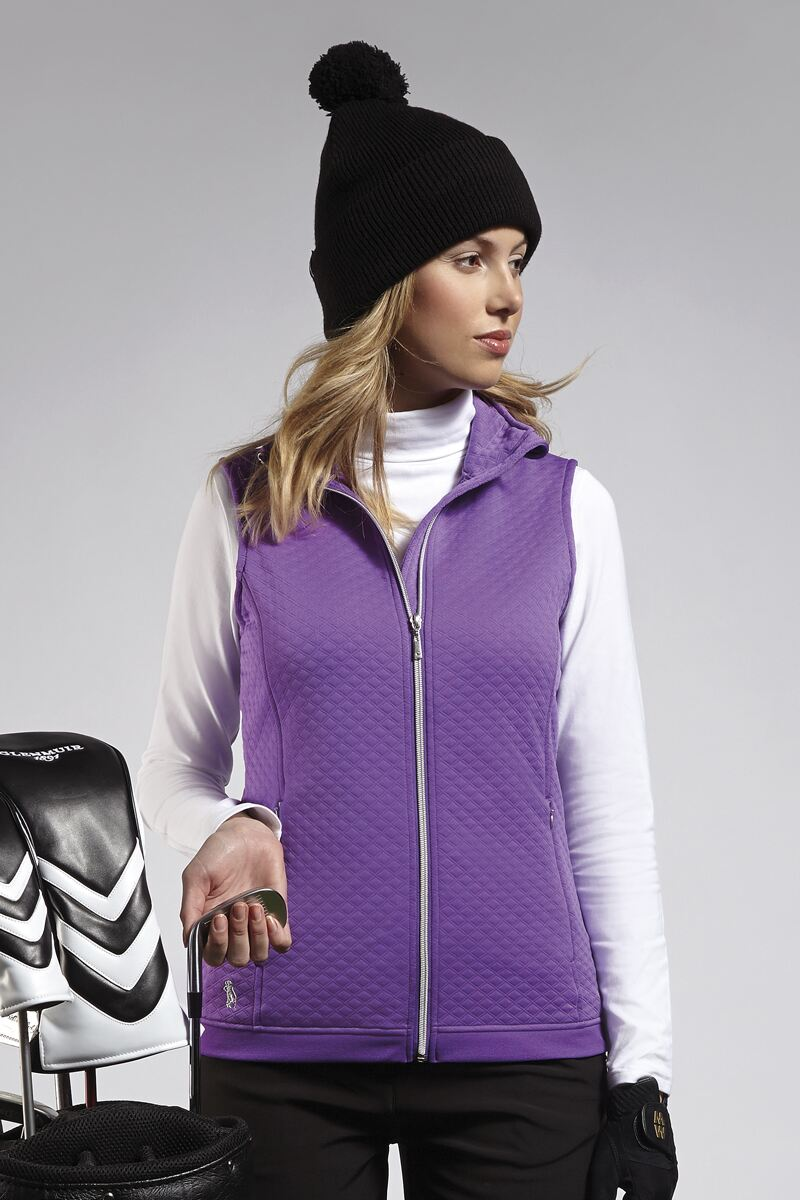 Ladies Zip Front Embossed Diamond Performance Midlayer Golf Gilet - Sale