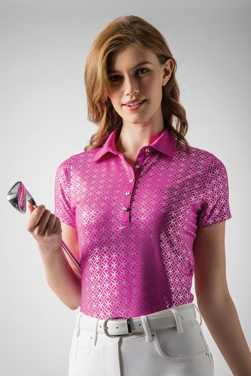 Ladies Foil and Animal Print Performance Golf Polo Shirt