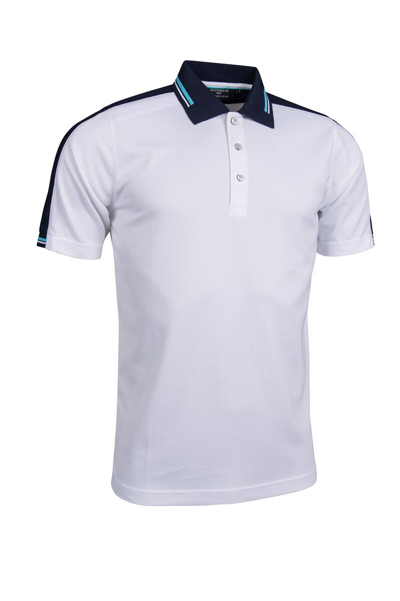 Mens Stripe Collar Cuff and Shoulder Panel Performance Pique Golf Polo Shirt