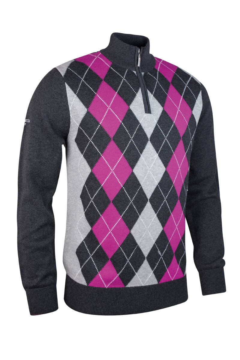 Mens Zip Neck Argyle Front Touch of Cashmere Golf Sweater