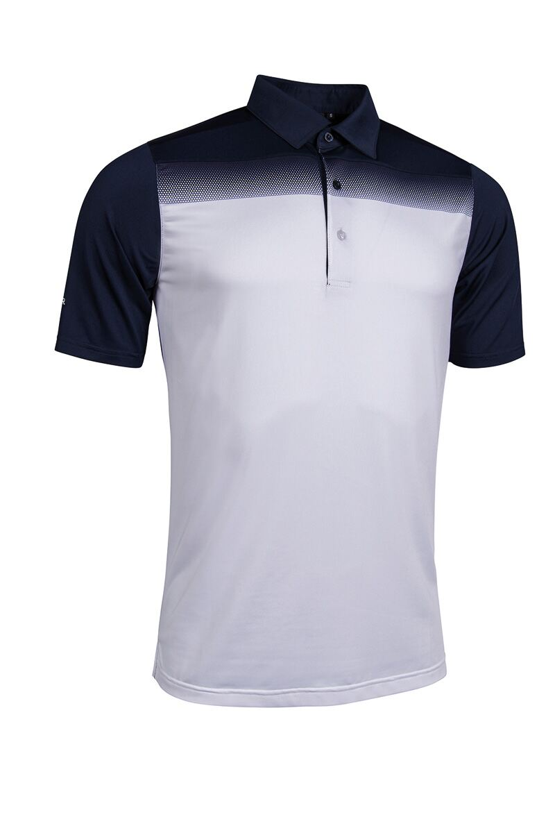 Mens Ombre Hexagon Printed Tailored Collar Performance Golf Polo Shirt