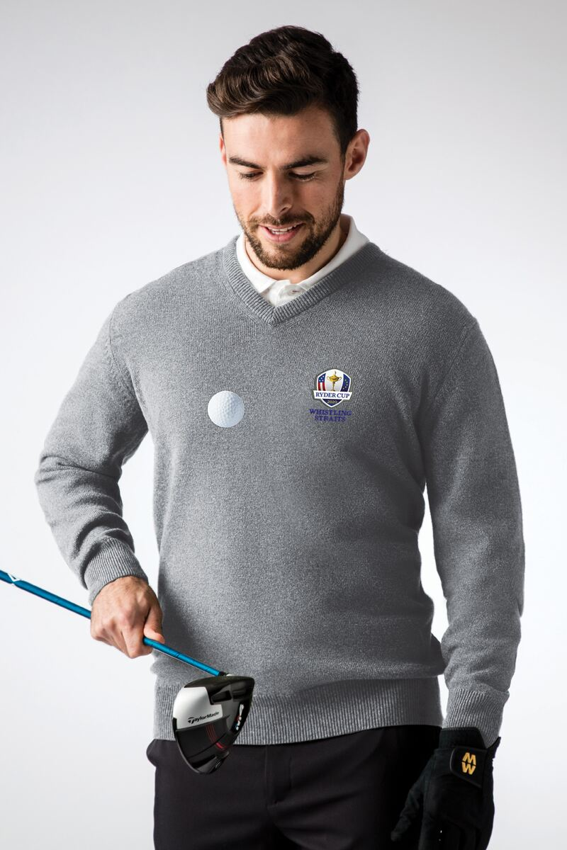 Official Ryder Cup 2020 Mens V Neck Lambswool Golf Sweater